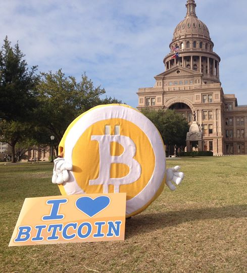 The Giant Bitcoin in front of the Texas State Capitol.
