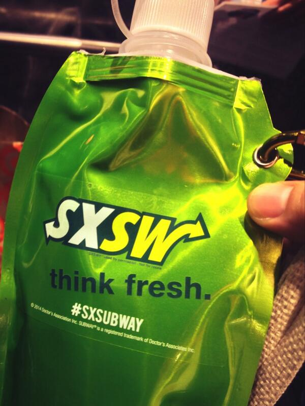 Subway's SXSW branding for thirsty event-goers.