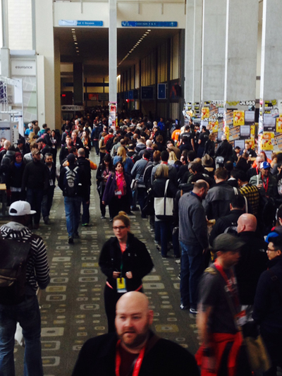 Cell phone photo of the SXSW Julian Assange line.