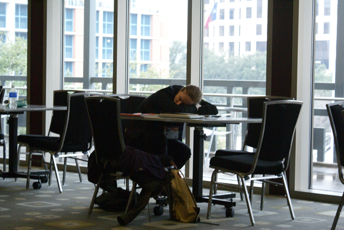A SXSW interactive attendee catching a quick nap.